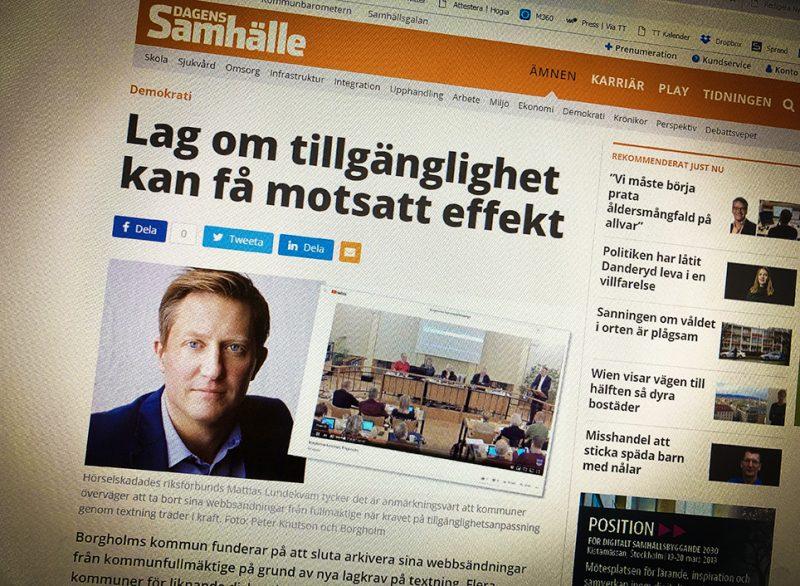Webbsida för Dagens Samhälle, med rubriken: Lag om tillgänglighet kan få motsatt effekt