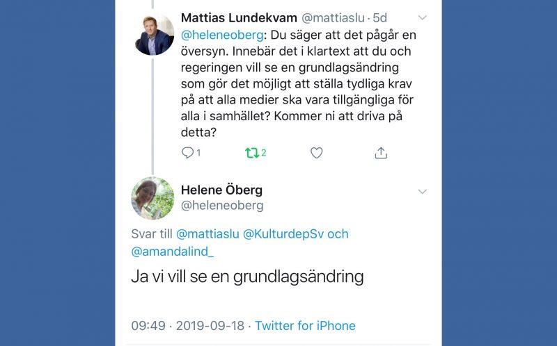 Bild på tweets av Mattias Lundekvam och Helene Öberg. Återges i artikeln.
