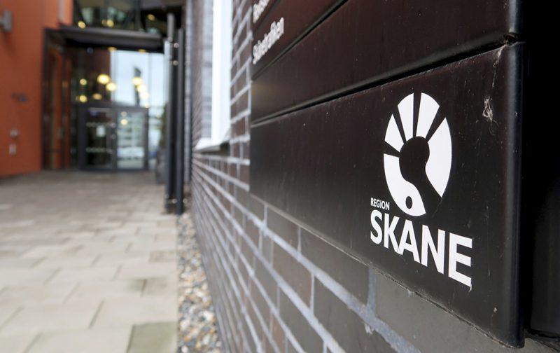 Skylt med texten region Skåne