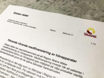 """Brev från Etiska rådet i Skåne, med rubriken: """"Yttrande rörande medfinansiering av hörapparater """""""