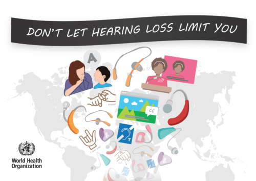 Grafik med världskarta, hörapparater m m samt texten: Don't lett hearing loss li you!