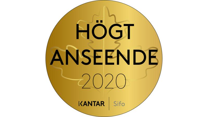 """Guldmedalj med orden """"Högt anseende 2020"""" samt """"Kantar Sifo""""."""