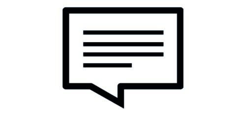 Rektangulär pratbubbla med linjer som symboliserar text.