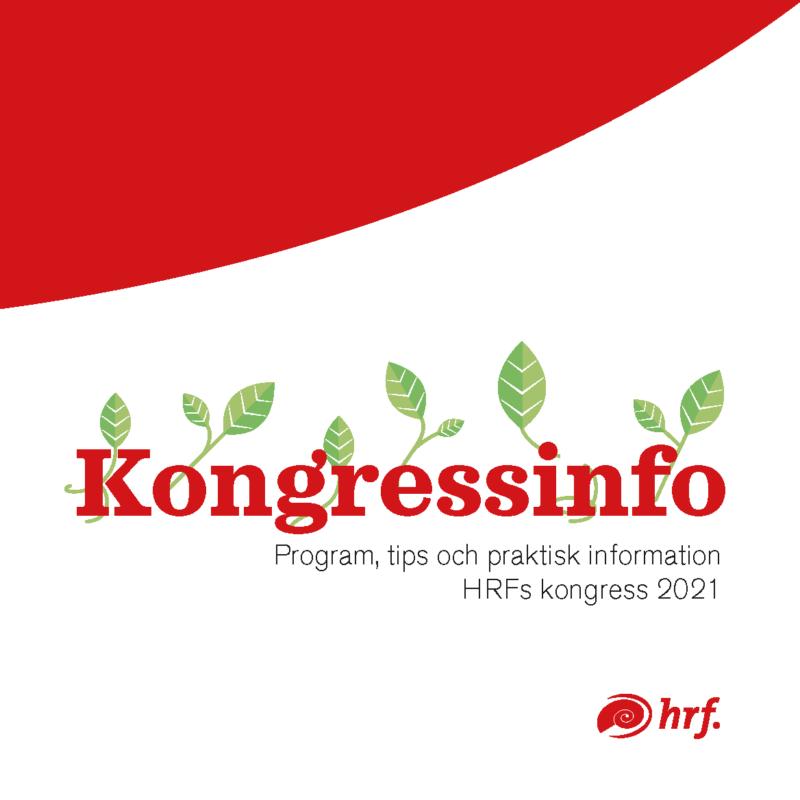 Röd-vitt omslag med texten Kongresinfo omslingrat av gröna blad.