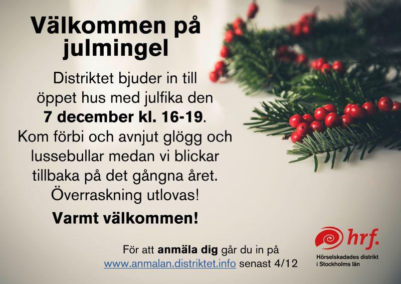 Bild på inbjudan till julmingel.